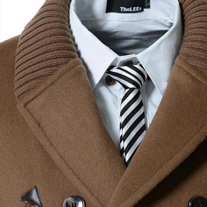 Envío Gratis Otoño Invierno nuevos gabardina para hombre de punto cuello largo estilo rompevientos doble Breasted D95