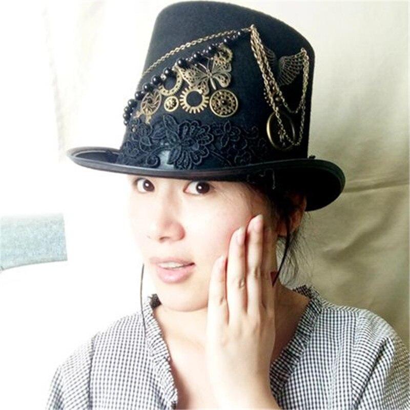 Retro Vintage Unisex Steampunk Rose Gears Black Top Hat Gothic Victorian Hats Halloween Lolita Cosplay Hats