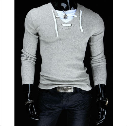 31dd6993270 Men s T-shirts full-sleeves V-neck collar wire design cloth sticking casual  fashion long sleeves T-shirts slim popular style