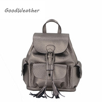 Fashion Drawstring Women Backpack Designer High Genuine Leather Colleage Wind Backpacks Small Laides Travel Backpacks 6