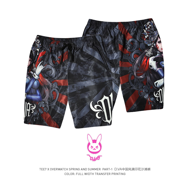 TEE7 Men's Overwatch Shorts  Game OW  DV.a Chinese Style Male Brand Boxer Trunks Board Sport Loose Beach Shorts