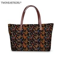 TWOHEARTSGIRL Floral Chicken Women Tote Handbag Large Capacity Ladies Crossbody Handbags Messenger Bags Girls Top Handle Bag