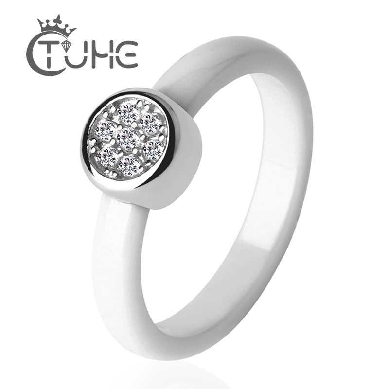 Круглый 3 мм белый черный керамическое кольцо Модные женские ювелирные изделия обручальное кольцо с Индией кристально гладкая комфортное кольцо Размер 6 7 8 9