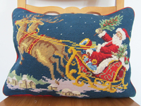 Italy Pure Wool Hand Embroidered Pillow Cushion Lumbar Needlepoint Santa High End Holiday Gifts And Crafts
