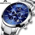 MEGALITH модные повседневные часы для мужчин  люксовый Топ бренд  кварцевые часы  водонепроницаемые спортивные военные часы  мужские часы  Relogio ...