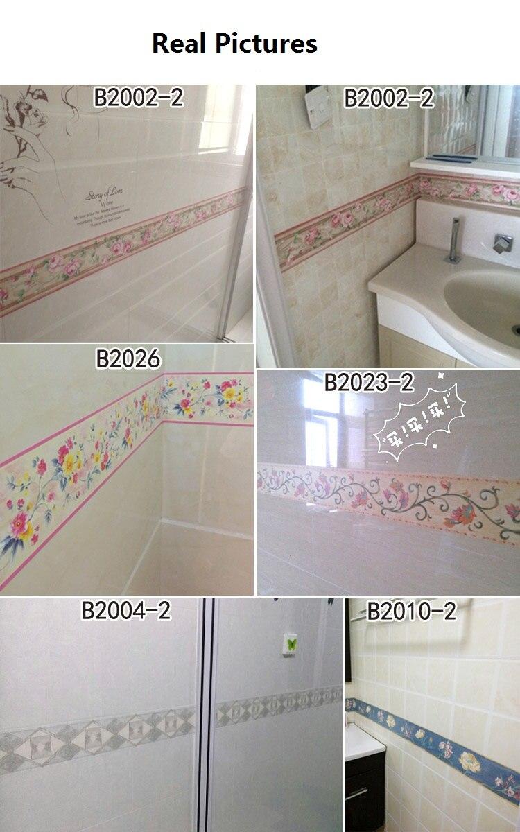 10M Waist Line Wall Sticker Kitchen Waistline Bathroom Toilet Waterproof  Self Adhesive PVC Wallpaper Border Room Floral Stickers In Wall Stickers  From Home ...
