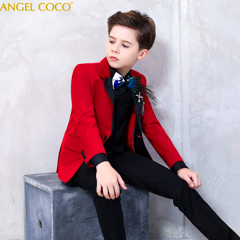 Red Suit Blazer For Boy Single Buckle Boys Suits For Weddings Peacock Feather Bow Tie Boys Blazer Jogging Garcon 2018 Menino blazer moodo blazer