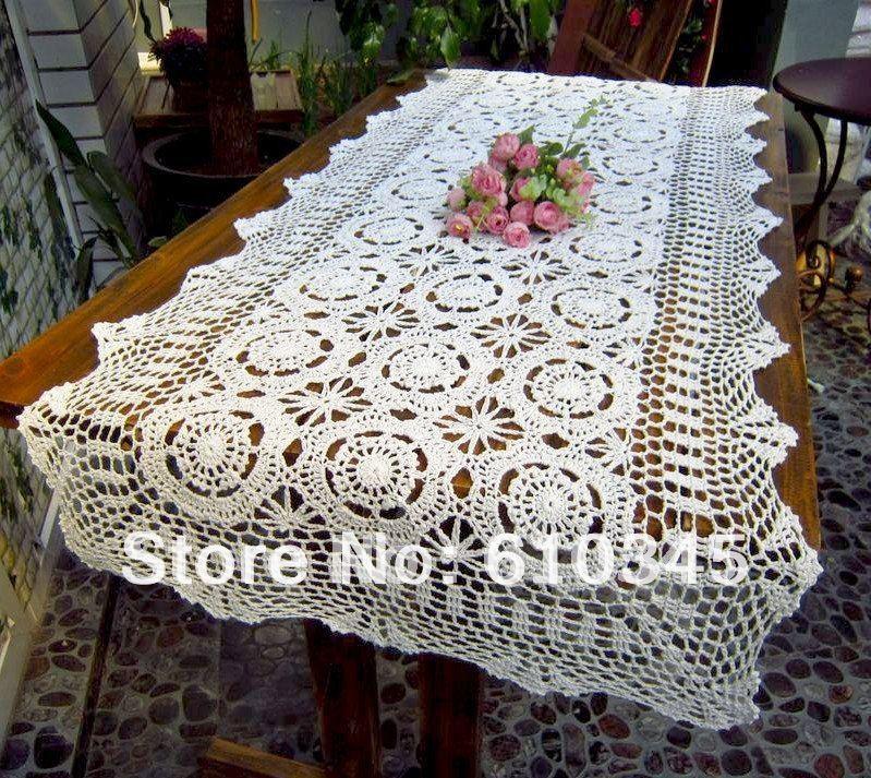 el envo libre vendedor caliente 100 algodn tejido a mano crochet camino de mesa 60x210