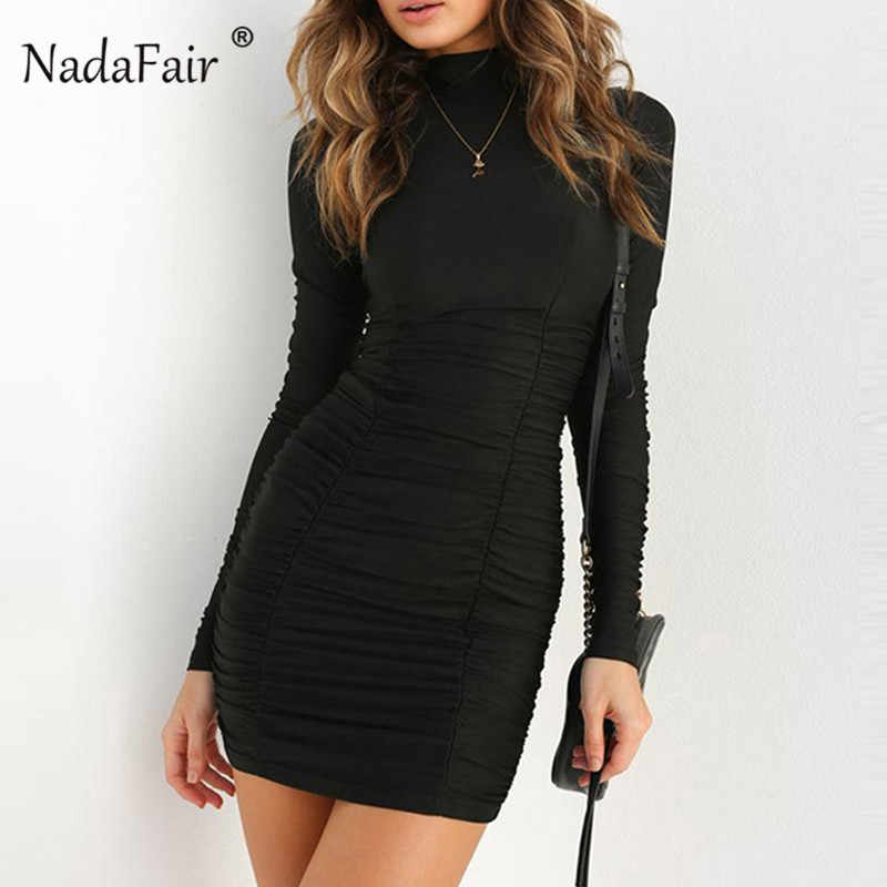 ... Nadafair Long Sleeve Bodycon Dress Women Turtleneck Ruched Black Wrap  Dress Elegant 2018 Mini Autumn Winter ... 9977d4e99