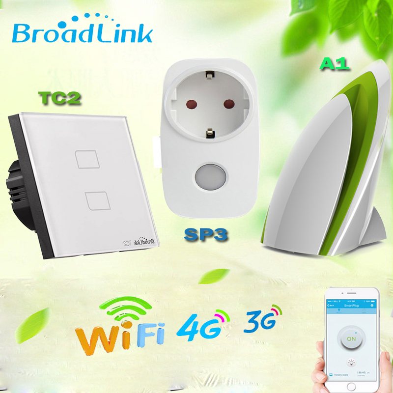 Broadlink Home Automation,TC2 EU Wifi Light Switch+A1 e-Air Quality Detector+SP3 EU Smart Socket,Remote Control For Smart Home