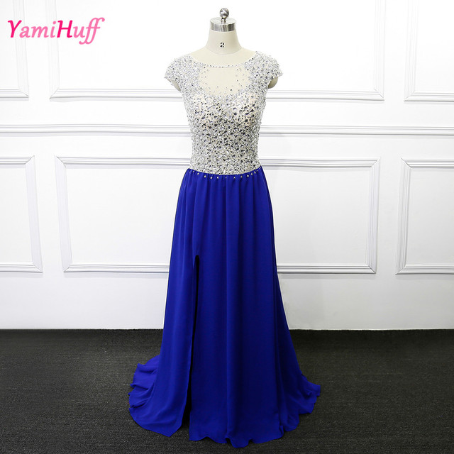 Abendkleid blau strass