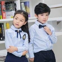 141d634a1 الأطفال رياض الأطفال موحدة الطلاب الزي المدرسي البريطانية الأطفال ارتداء  طويلة الأكمام بنين والبنات الأزرق قمصان
