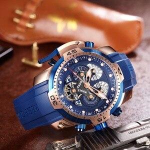 Image 3 - Reef Tiger/RT Top marka luksusowy sportowy zegarek mężczyźni różowe złoto wojskowe zegarki niebieska guma pasek automatyczne zegarki wodoodporne RGA3503