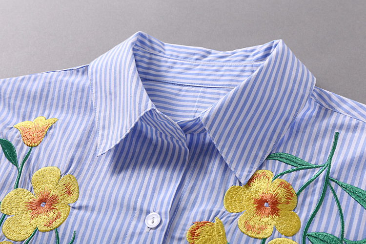3726afd419 Spring autumn blue white striped embroidered flower shirt pure cotton long  sleeved casual LADY CLOTHES FACTORY WHOLESALE -in Blouses & Shirts from  Women's ...