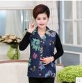 Middle-Aged And Old Women Vest During The Spring And Autumn Period And Cotton Embroidered Denim Vest Plus Size XL - 4 XL