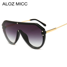 ALOZ MICC 2019 New Fashion Women One Piece Sunglasses Men Oversize Metal Sun Glasses UV400 Oculos Gafas Eyewear Q265