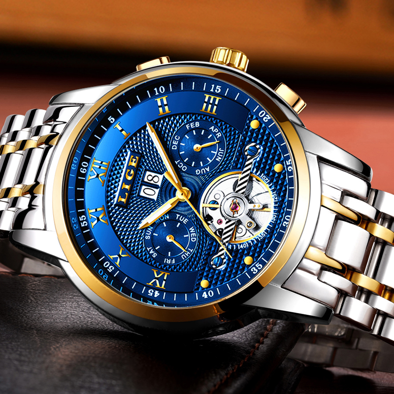 Image 2 - Relogio Masculino LIGE Mens Watches Top Brand Luxury Automatic Mechanical Watch Men Full Steel Business Waterproof Sport Watches-in Mechanical Watches from Watches