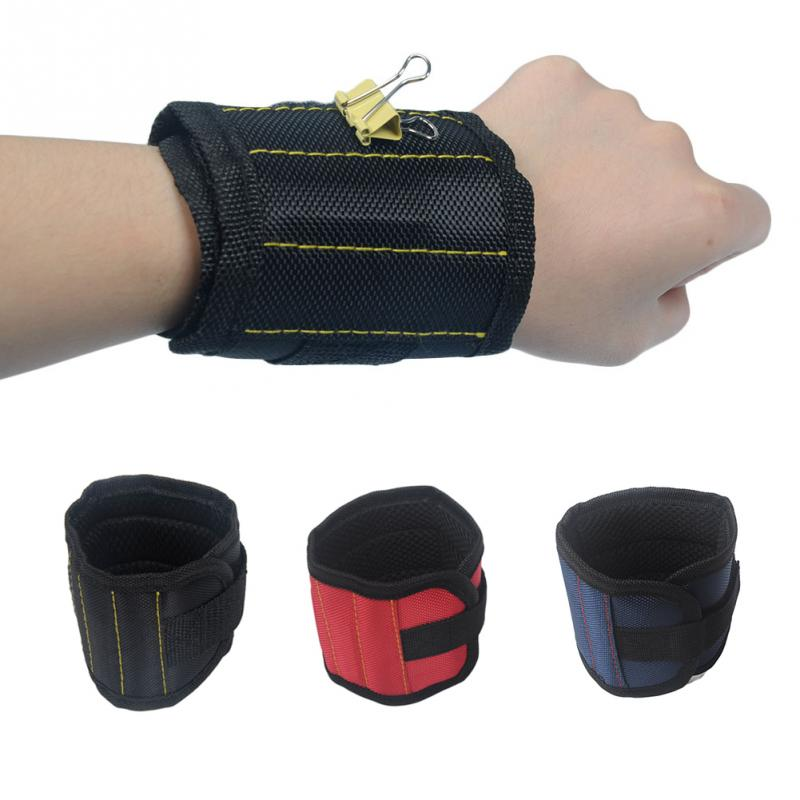Strong Magnet Wristband Tool Bag Adjustable Tool Wrist Bands for Screws Nails Nuts Bolts Hand free Drill Bit Holder Spire Lamell