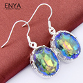 New Arrival Silver Plated Jewelry Charm Mystic Synthetic Topaz Earring For Women Wedding Earring Party Bijoux E0248