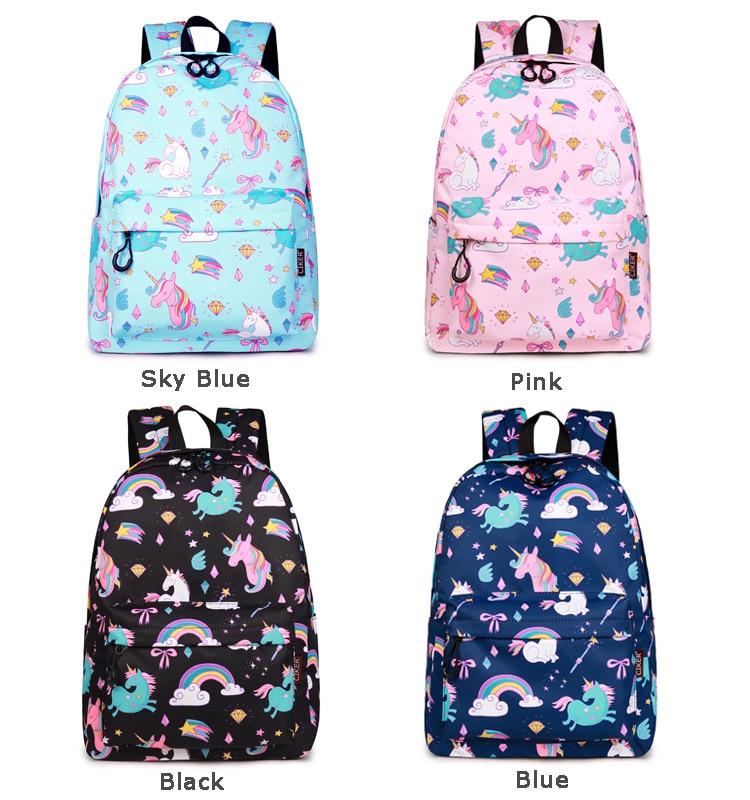 WINNER School Backpack Cartoon Rainbow Unicorn Design Water Repellent Backpack For Teenager Girls School Bags Mochila (5)