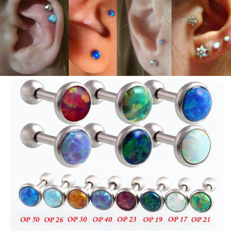 Hot Opal Lip Piercing Ear Jewelry G23 Titanium 9 Color Choice 16Gauge 1.2x6x3/4/5mm Ball Piercing Labret labio Men Body Jewelry  summer casual bodycon dresses