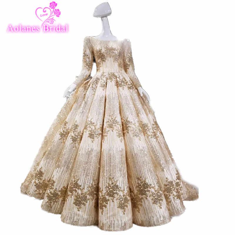 AOLANES Роскошные кружевные Кристаллы Аппликации арабский цвет шампанского золотое свадебное платье красное золото свадебное платье 2018 длинное свадебное платье