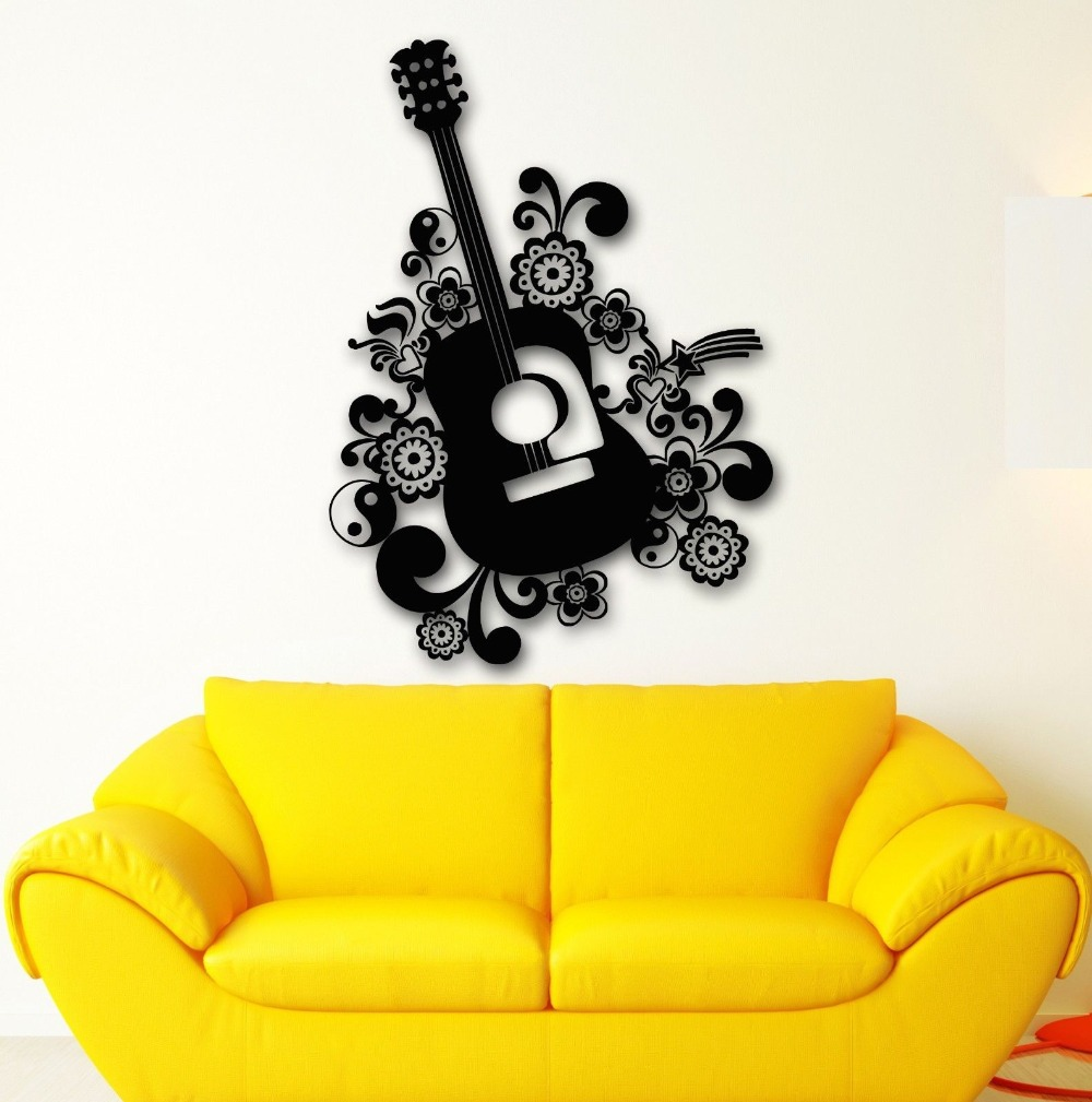 Wall Stickers Vinyl Decal Beautiful Guitar Music Instrument-in Wall ...