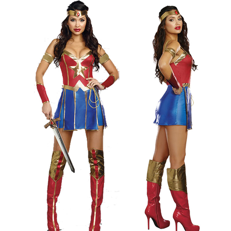 VASHEJIANG Sexig Wonder Woman Kostym Vuxen Fantastiskt Supergirl Uniform Klänning Halloween Sexig Superhero Cosplay Carnival Dress