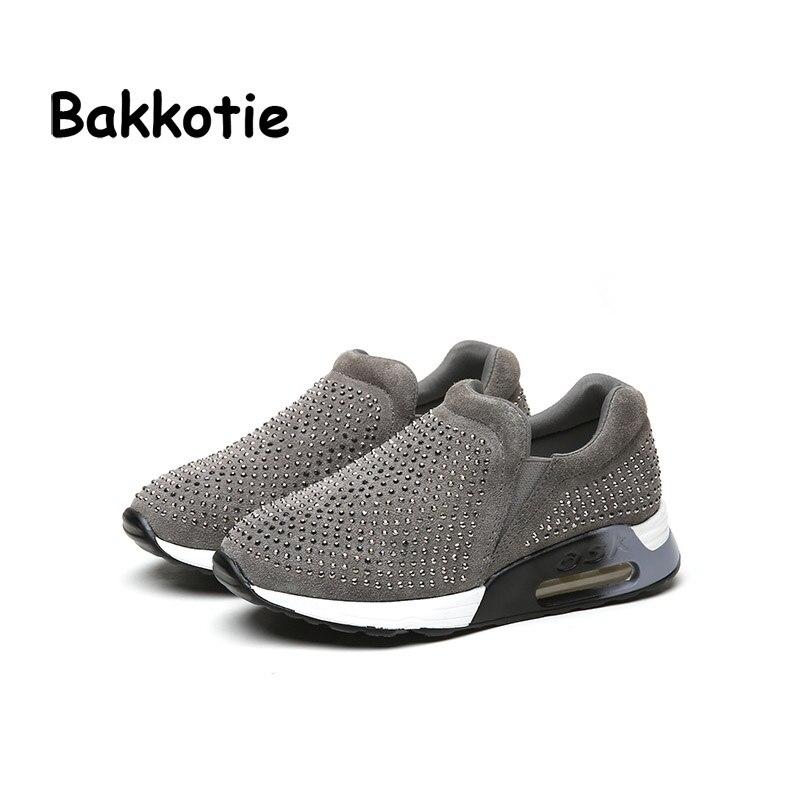 Bakkotie 2017 Spring Baby Fashion Shoe Children Rhinestone Slip On Girl Platform Sneaker Boy Black Trainer Kid Shoes Toddler