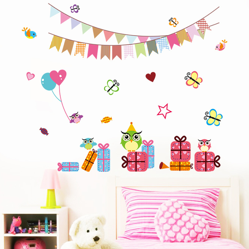 Owls Butterfly Gift Box Wall Stickers for Kids Room ...