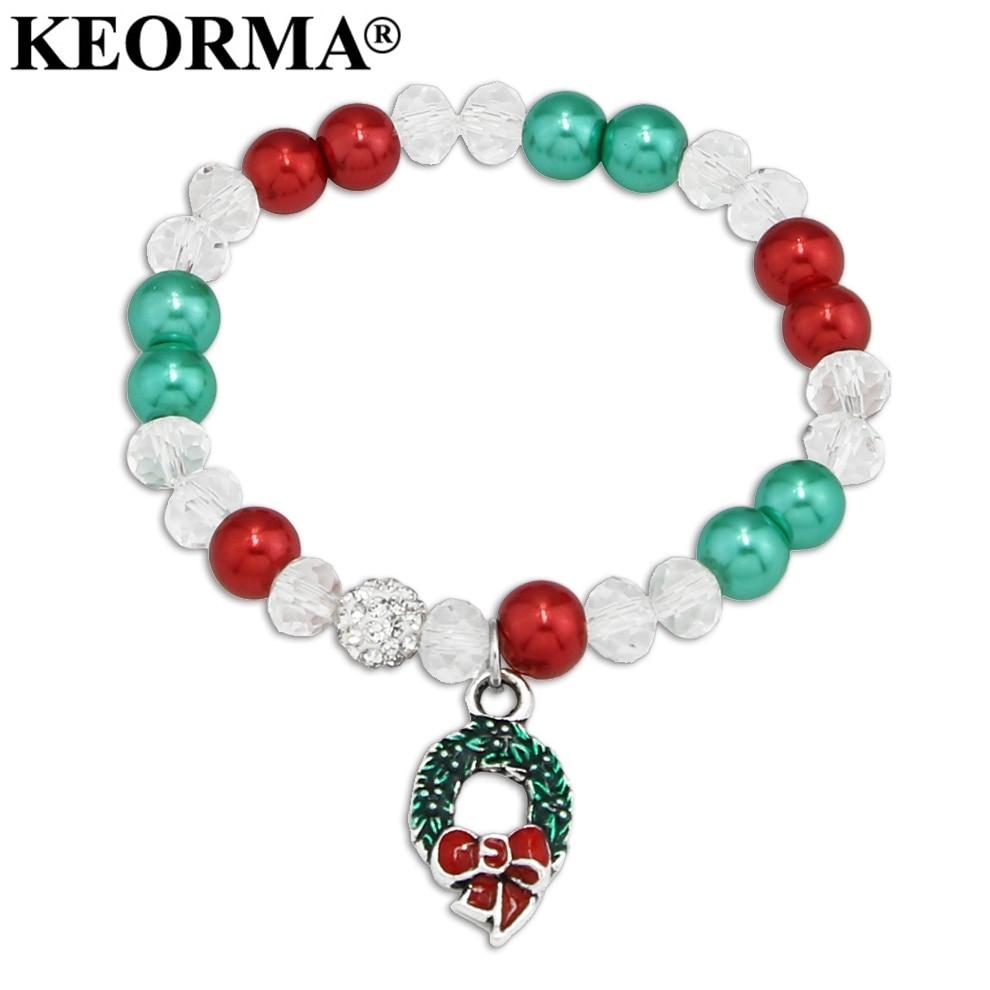KEORMA DIY Élastiques Corde Coloré Perles Simulées-Perle Bracelet Guirlande / Bracelet À Charm Flocon De Neige Pour Femmes Cadeau De Noël AAX034