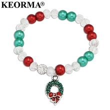 KEORMA DIY Elastics Rope Colorful Simulated-pearl Beads Bracelet Wreath/Snowflake Charm Bracelet For Women Christmas Gift AAX034