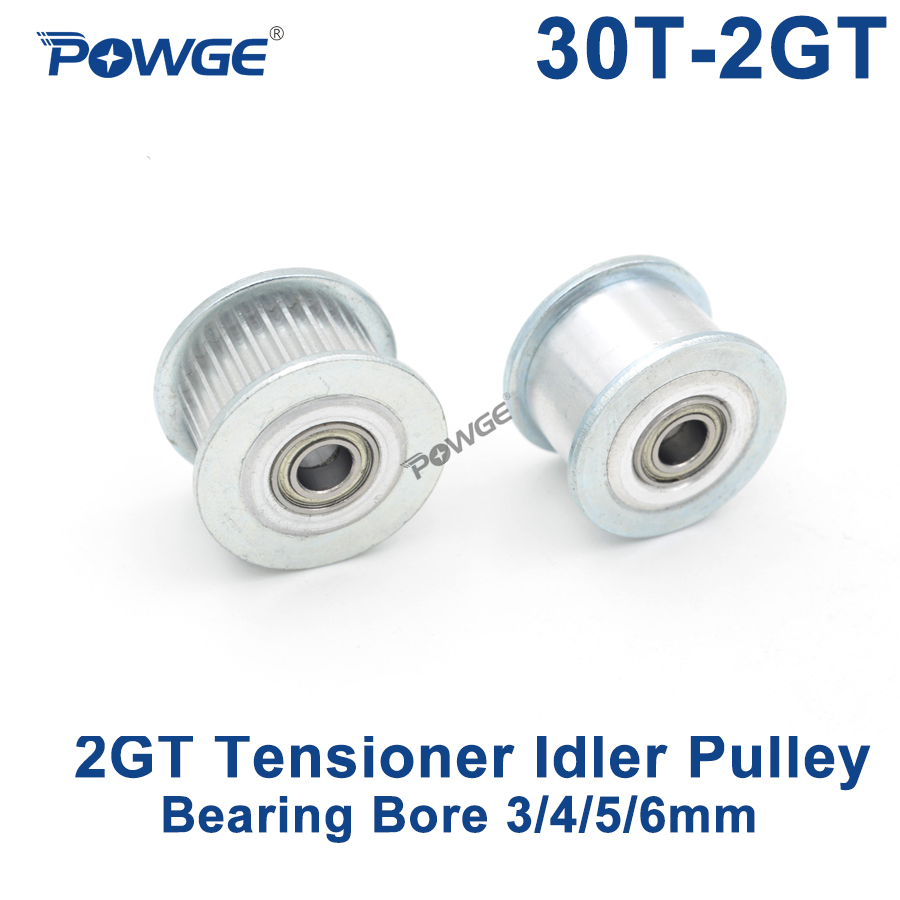 POWGE 2GT 30 Teeth Idler Timing Pulley synchronous Wheel Bore 3/4/5/6mm with Bearing for Width 6/10MM GT2 open belt 30T 30TeethPOWGE 2GT 30 Teeth Idler Timing Pulley synchronous Wheel Bore 3/4/5/6mm with Bearing for Width 6/10MM GT2 open belt 30T 30Teeth