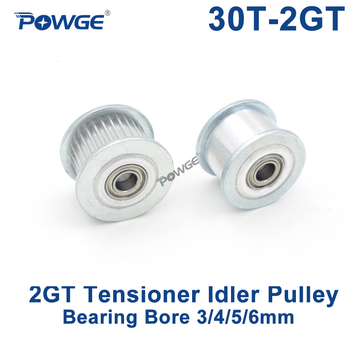 POWGE 2GT 30 Teeth Idler Timing Pulley synchronous Wheel Bore 3/4/5/6mm with Bearing for Width 6/10MM GT2 open belt 30T 30Teeth 80 teeth 2gt timing pulley bore 6 35 8 10 12 14 15 16 19 20mm for gt2 open synchronous belt width 6 10mm 80teeth 80t