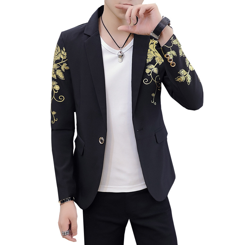 Clothes 2019 New Single Button Suit Casual Men's White Black Men Blazers Long Sleeves Young Printing Banquet Suits Blazer Coats