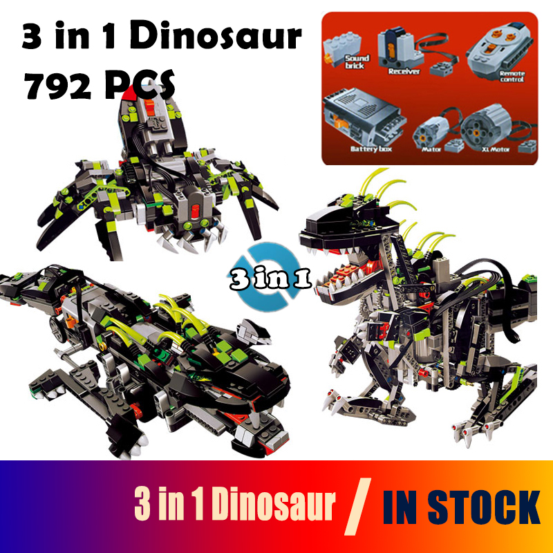 Model building blocks Compatible with Lego Technic 24010 792pcs 3 in 1 Dinosaur RC Sound Function 4958 Bricks toys for children compatible with lego technic creative lepin 24011 1344pcs 3 in 1 highway transport building blocks 6753 bricks toys for children
