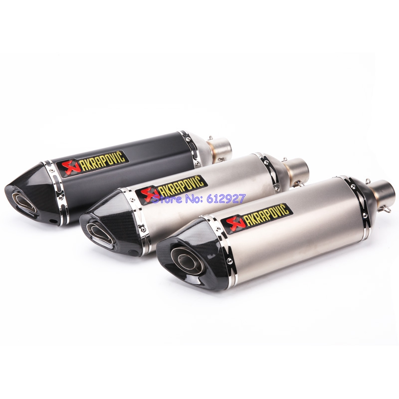 Universal Inlet 51mm Length 465mm Motorcycle Akrapovic Exhaust Muffler Pipe with DB Killer Motorbike Muffler Exhaust Escape motorcycle universal exhaust for akrapovic large displacement inlet 51mm muffler pipe with db killer steel carbon aluminum new