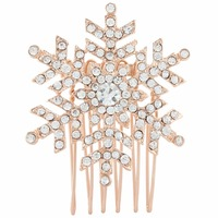 BELLA Clear Snowflake Brooch Pin For Bridal Austrian Crystal Silver Tone Brooches For Women