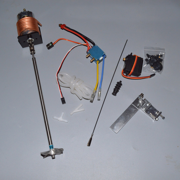 775 Motor Water Cooled Power Steering Set Motor+Bracket+Shaft+Shaft Sleeve+Coupling+480 ESC+Silicone Tube+Servo+Propeller Kit kit engineering pneumatic air driven mixer motor 0 6hp 1400rpm 16mm od shaft