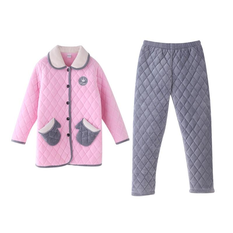Winter Drei Von Adeir Plus Schlafanzug Süße Samt Lässig Damen Zu Großhandel Baumwolle Korallen Gesteppte Pyjamas Jacke Hause Schicht Warme iOkXZuP