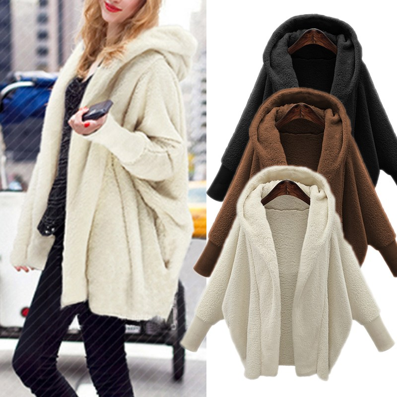 Women Winter Warm Faux Fur Coats 2018 Autumn Long Sleeve Hooded Oversized Top Solid Coat Jackets Tops Winter Outerwear Plus Size