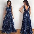 Sexy maxi dress Женщины Цветочный Печати Бальное платье спинки мода одежда китай vestido largo вечернее партии Длинные Dress #420