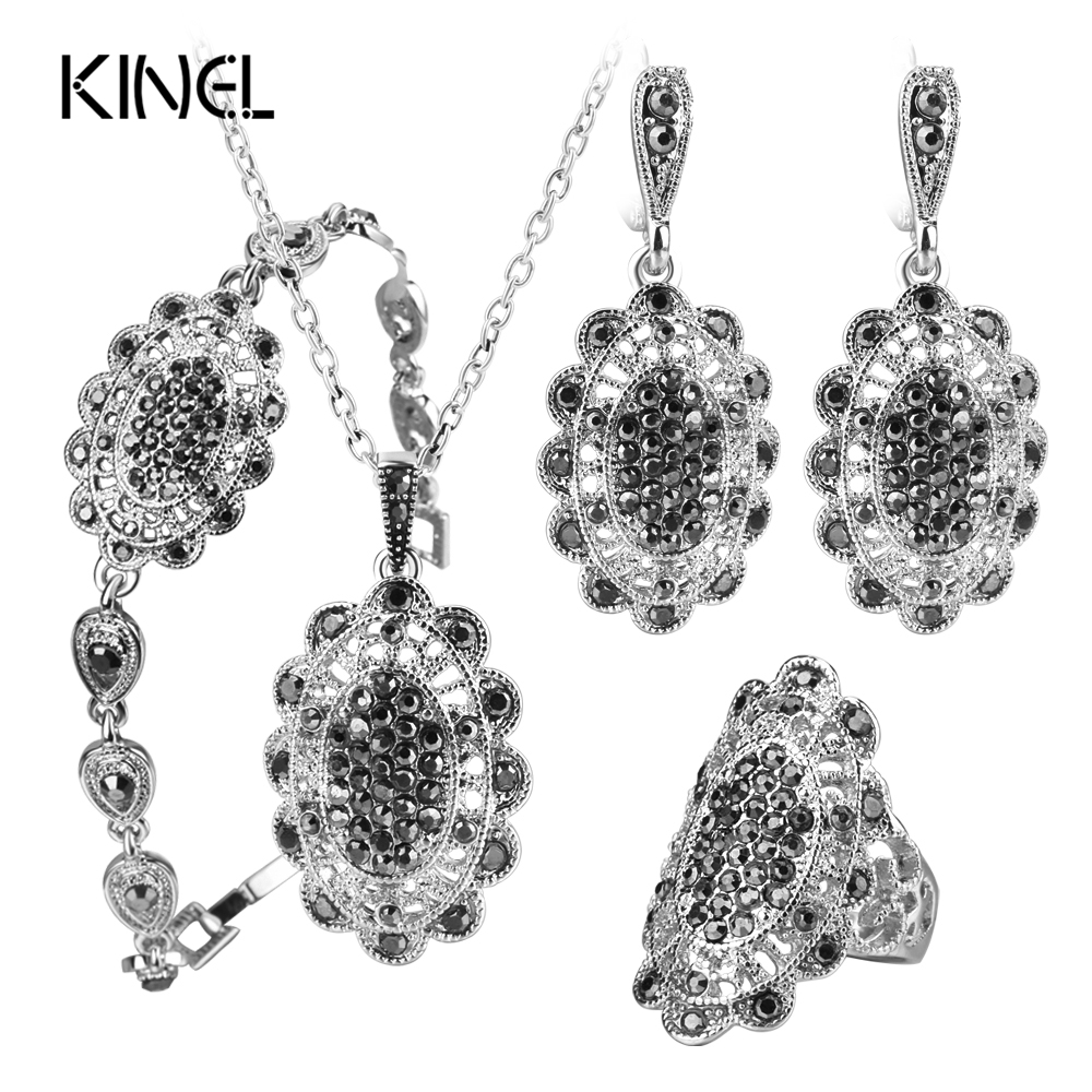 Kinel 4Pcs/Lot Gray Crystal Fashion Jewelry Sets For Women Silver Color Hollow Petals Vintage Wedding Jewelry Set