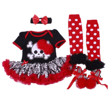 Newborn Baby girl clothes Cotton Skull with flower Damascus+Black Short Romper Dress+Toddler Shoes+Socks+Headband Baby clothing