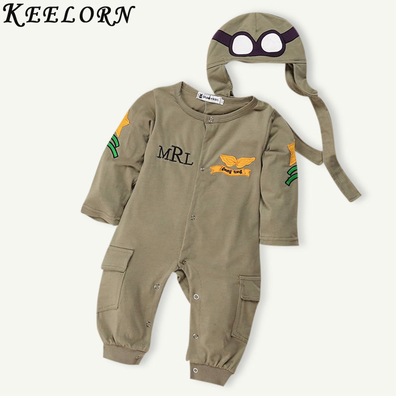 Keelorn NEW Baby Rompers Fashion Autumn Boys Clothing Sets Long Sleeve Baby Jumpsuit+Hat 2pcs Newborn Clothes For Boys Winter baby clothes autumn winter baby rompers jumpsuit cotton baby clothing next christmas baby costume long sleeve overalls for boys