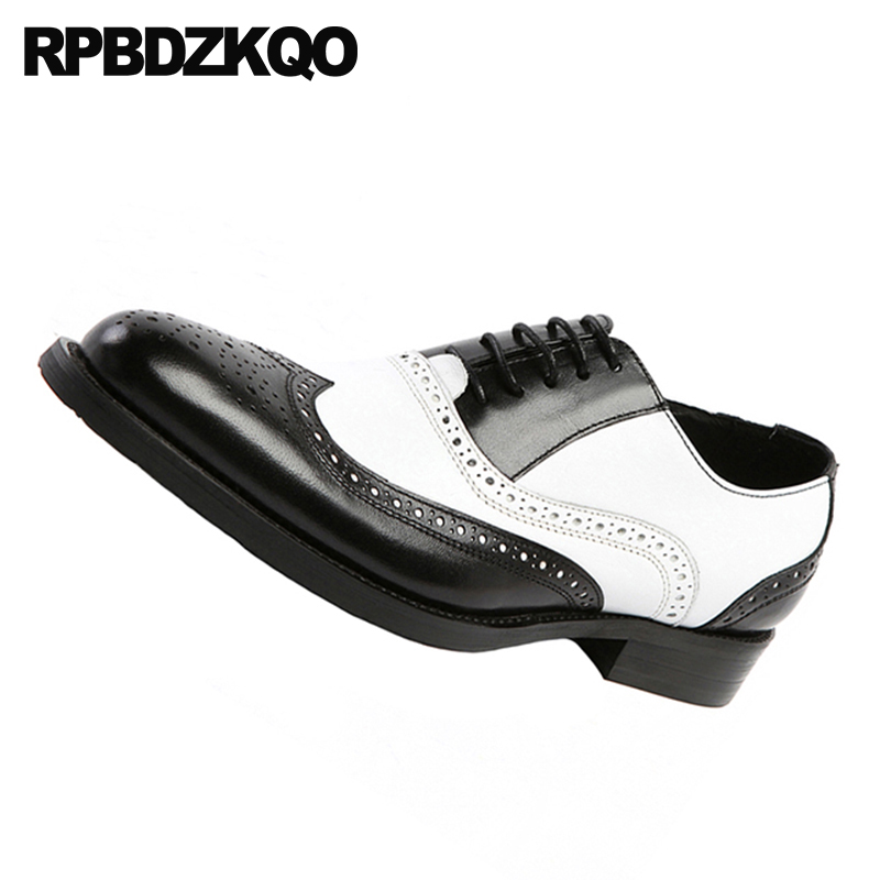 Pista Marca Goma Plus Italia Vestir Negro Zapatos brown Oxfords Para Black Blanco Y Italiano Ala White Tamaño Suela Oxford De White Punta Formal Hombres vwdPqvxX