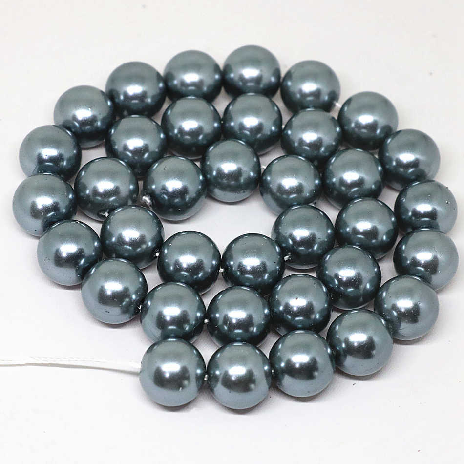 Dark gray 4-14mm pick size round imitation shell pearl beads fashion fit diy necklace bracelet jewelry making 15inch B1618