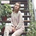 Мода Слэш Кружева Шеи Фонарь Рукав Пижамы Женщины Урожай Хлопка Сна Одежда Дамы Pijama Устанавливает Весна Осень Пижамы