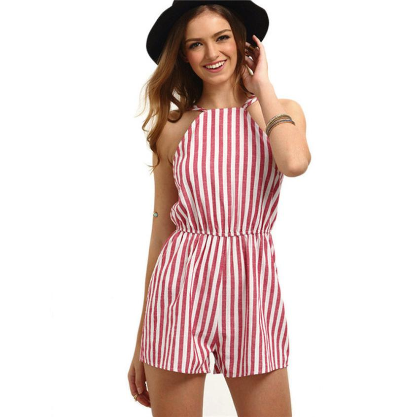 2018 Playsuit Womens Sexy Women Casual Ladies Jumpsuit Romper Summer Beach Striped Backless Playsuit Feb 28 ...