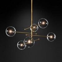 Современный дизайн стеклянный шар на подвеске 6 головок прозрачный стеклянный пузырь лампа люстра для гостиной кухни черный/золотой светил...